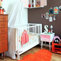 Chocolate brown and orange baby girl retro nursery