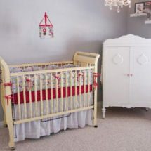 Ruby red antique white and gray neutral baby nursery with apple theme crib bedding set