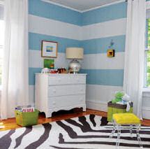 Baby blue and white boy modern nursery theme decor with painted horizontal wall stripes