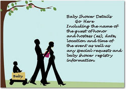 Pregnant mom and dad with baby graphics on a couples baby shower invitation