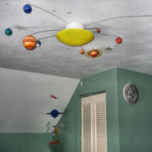 Solar system planet baby nursery theme ceiling light fixture with planets orbiting the sun
