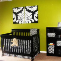 Lime green black and white baby girl nursery room with black and white damask crib bedding set