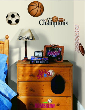 All star baby boy nursery wall decals with large and small soccer balls, baseballs, footballs and basketballs stickers