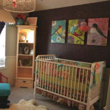 Bold colorful bird theme nursery with dark purple and charcoal gray paint color on the walls