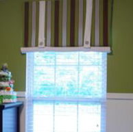 Olive green antique white and brown striped baby boy custom nursery window valance with button tabs