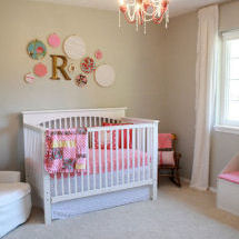 Watermelon pink and gray baby girl nursery with hot pink shabby chic chandelier