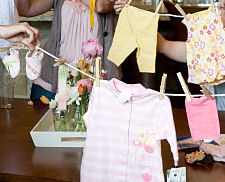 clothesline baby shower decorations ideas theme invitations wording poem verse personalized homemade