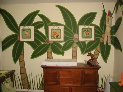 3D NURSERY WALLS PAINTED WITH PALM TREES, MONKEYS and COCONUTS