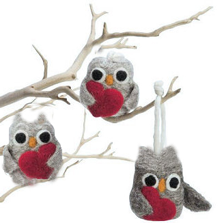 Felted owl ornaments on a DIY homemade tree branch baby crib mobile