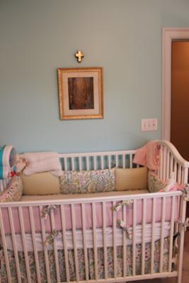 Aqua Blue and Pink Baby Girl Nursery Bedding and Wall Decor