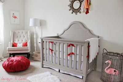Modern, neutral color scheme with pops of coral in a baby girl's nursery inspired by festive pink flamingos