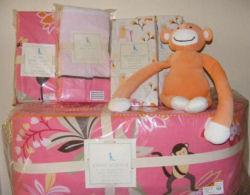 pottery barn pink baby girl monkey baby crib bedding nursery set decor quilt