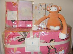 pottery barn kids pink and brown emmy monkey baby nursery crib bedding baby girl