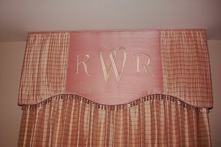 Pink nursery curtains with a valance personalized with baby's monogram