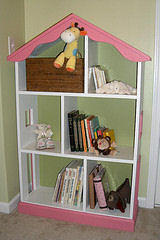 custom barbie doll dollhouse bookshelf shelf bookcase woodworking pattern project wood wooden girl