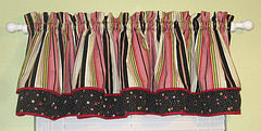 baby girl custom nursery window valance curtains in pink green black brown antique white cream stripes polka dots