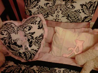 White, pink and back damask print baby bedding set for our little princess, Abigail Grace.