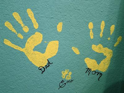 Handprints Left by Mommy, Daddy and a Puppy Dog Paw Print on the Nursery Wall.