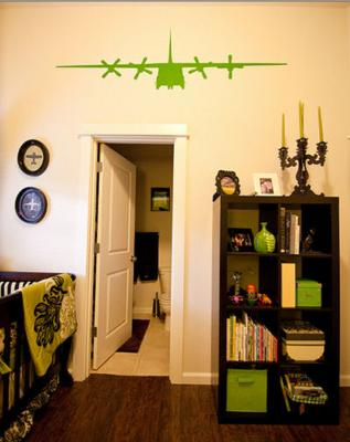 Lime Green and Black Airplane Baby Nursery Theme w Airplane Wall Decals