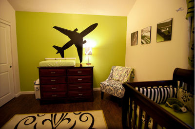 Lime Green and Black Airplane Baby Nursery Theme w Large Airplane Wall Decals