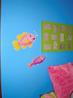 Underwater Nursery Wall Mural w Tropical Fish