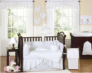 all white baby nursery rooms bedding eyelet pique crib set