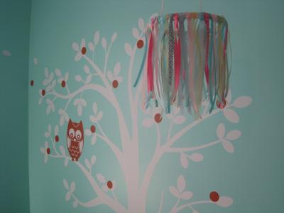 Ribbon Baby crib mobile and owl tree nursery wall decal