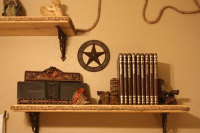 THREE HOMEMADE WESTERN WALL SHELVES DECORATED WITH ROPE AND IRON HORSESHOE NAILS