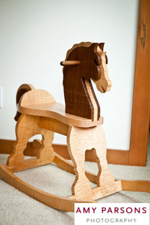 Homemade wooden baby rocking horse