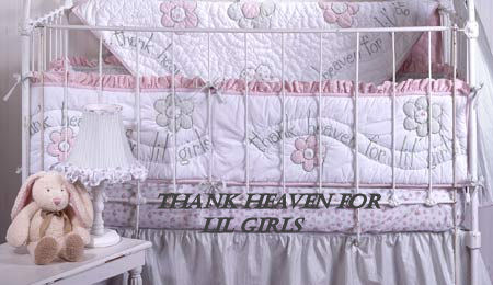 white pink gray angel nursery baby crib bedding sets