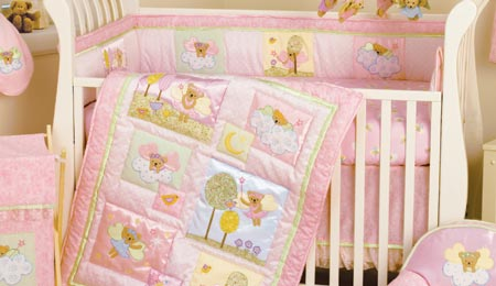 angel theme themed halo heavenly heaven print teddy bear closeout discontinued baby crib bedding set fairy wand angel baby bedding crib set clouds fairy moon stars pastel pink ballerina tutu