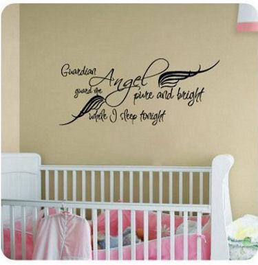 Vinyl baby guardian angel wall quote stickers and decals for the nursery guardian angel pure and bright guard me while i sleep tonight