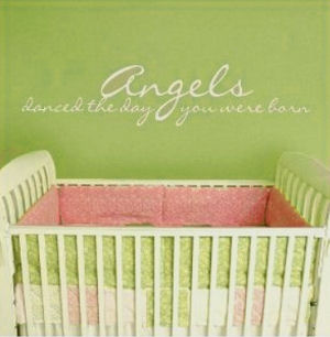 Baby angel nursery wall quote stickers and decals