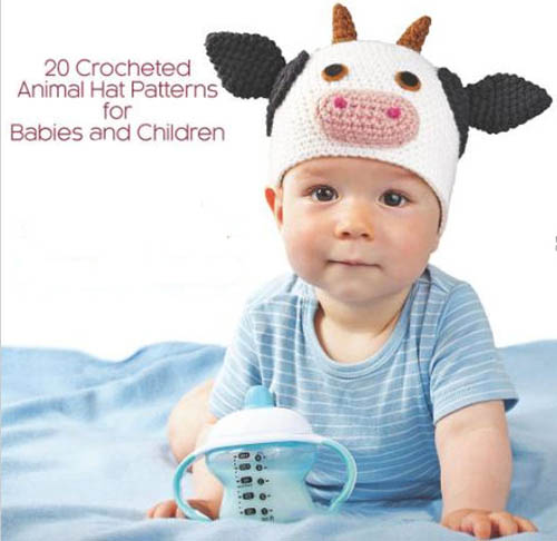 Collection of knitting patterns for Amigurumi animal baby hats.