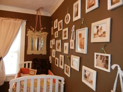 Antique Shabby Chic Girls Nursery Walls in Chocolate Brown
