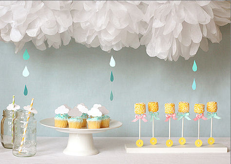 Blue and yellow April Showers Baby Shower theme ideas with umbrella and rattle decorations and cakes
