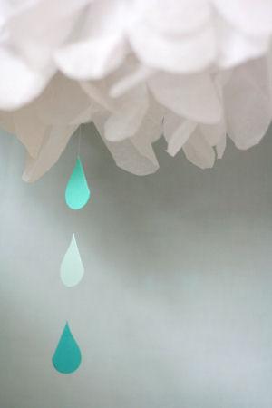April showers rain cloud homemade tissue paper mobile raindrop cutouts