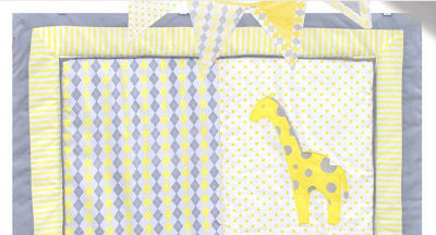 baby blue and yellow argyle baby nursery crib bedding set quilt with giraffe applique
