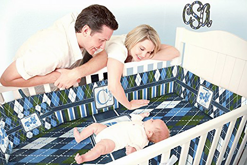 Argyle golf baby crib nursery bedding set for a boy or girl nursery room