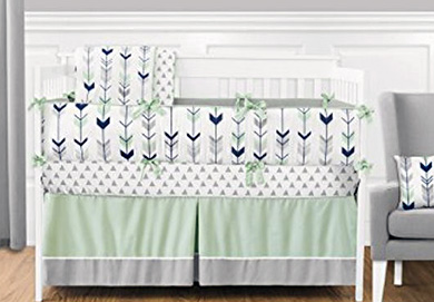 Mint green, navy blue and white arrow baby crib bedding set for a boy