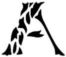 Leaf font alphabet stencil pattern template