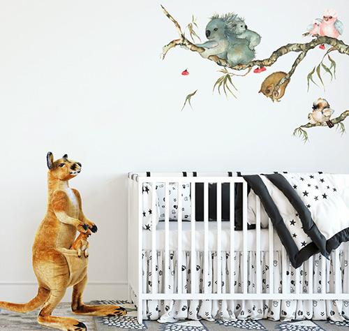 Aussie baby nursery decorating ideas kangaroo koala bear australia theme baby crib nursery bedding sets