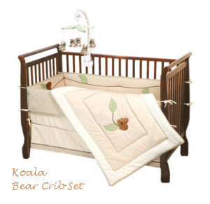 Australian theme koala bear baby crib nursery bedding set with applique quilt