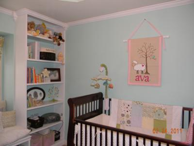 I made the little lamb wall hanging over the crib with my baby girl's name on it.
