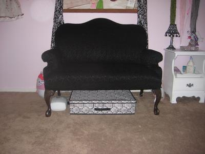 Our Craigslist settee that mom reupholstered for Ava's Parisian pink and black nursery