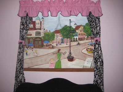 A custom painting for our baby girl's nursery room features a view of a street in Paris