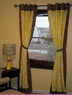 baby girl safari brown and white zebra print nursery window treatments curtains