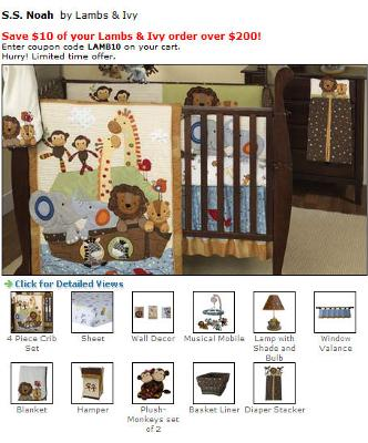Noahs Ark Baby Nursery Bedding set.  The crib quilt has cute appliques of monkeys, zebras, giraffes, lions, tigers and elephants in beautiful colors.