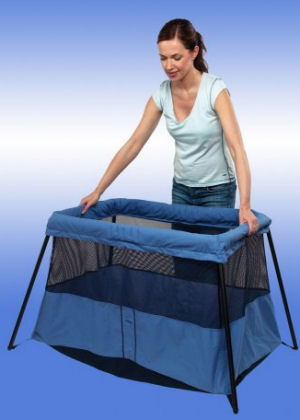 Lightweight folding portable Baby Bjorn Travel Light Lite Baby Crib in blue for camping or family vacations