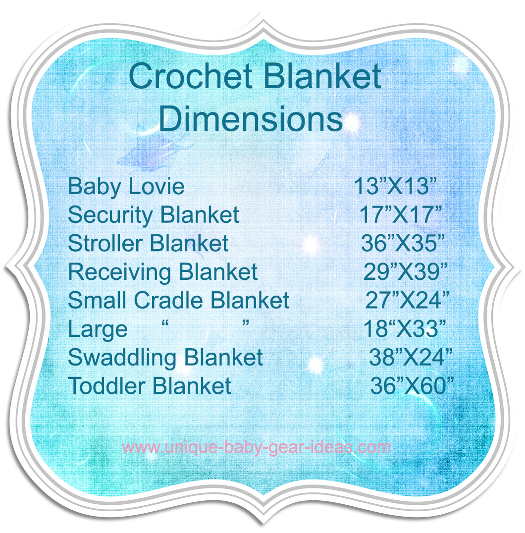 Knit or crochet baby blanket size chart dimensions guide.